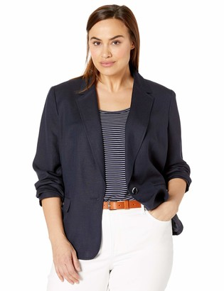 Nine West Women's Plus Size ONE Button Notch Collar Linen Jacket