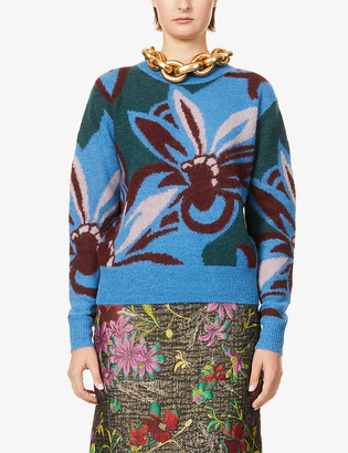 Dries Van Noten Graphic-print alpaca-blend jumper