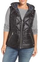 Bernardo Plus Size Women's Reversible Hooded Down & Primaloft Fill Vest