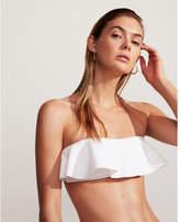 Express asymmetrical ruffle bandeau bikini swim top