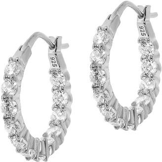 Diamonique Sterling Silver 0.25 cttw Hoop Earrings
