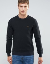 Farah Slim Textured Rib Knit Jumper In Black