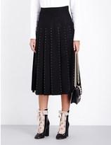 Valentino Stud-embellished pleated wool midi skirt