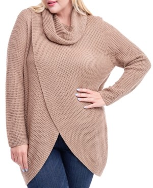 Fever Plus Size Cowl-Neck Crossover Sweater