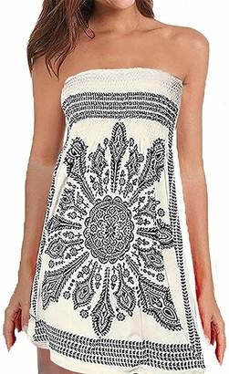 QegarTop Women Coverup Summer Strapless Beach Dress Swimwear Boho Bathing Covers - Beige - Medium