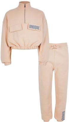 River Island Girls beige 'Unique' sweatshirt outfit