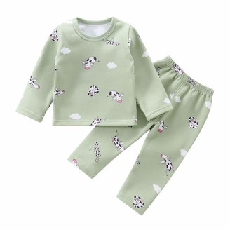 BenCreative Baby Boys Girls Pajamas Fleece Cotton Tops + Pants Nightgown for 1-4 Years Children Grey Cow 90cm