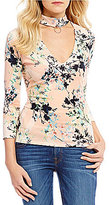 GUESS Irene Floral Printed Choker-Neck Knit Top