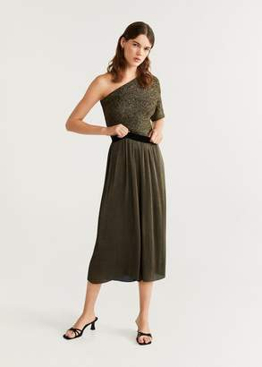 MANGO Pleated palazzo trousers gold - XXS - Women