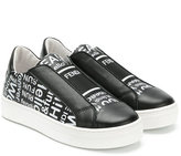 Fendi lettering print slip-on sneakers - kids - Calf Leather/Leather/rubber - 32