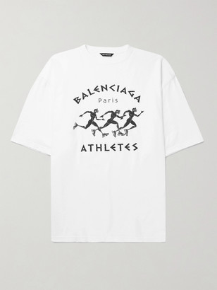 Balenciaga Oversized Printed Cotton-Jersey T-Shirt - Men - White