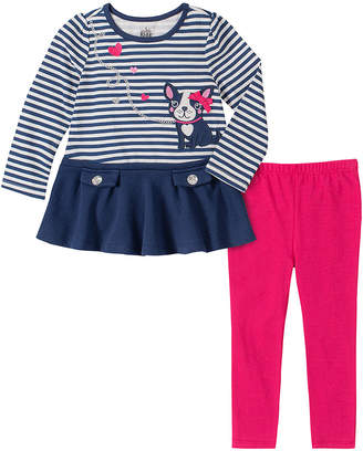 Kids Headquarters Girls' Casual Pants ASSORTED - Navy Stripe French Bulldog Skirted Long-Sleeve Top & Hot Pink Leggings - Infant & Toddler