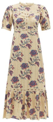 Sea Odette Floral-print Cotton Midi Dress - Womens - Ivory Multi