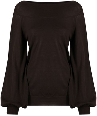 P.A.R.O.S.H. Boat Neck Balloon-Sleeve Jumper