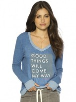 Peace Love World Good Things Will Come My Way Oversized V-Neck Comfy Top