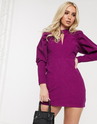 Asos Design DESIGN cord puff sleeve mini dress in purple