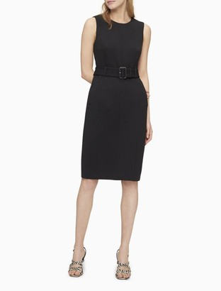 Calvin Klein Solid Belted Sleeveless Sheath Dress