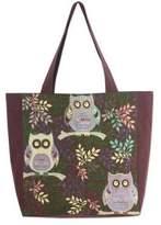 Thai Owls Cotton Blend Tote Shoulder Bag in Brown, 'Playful Owls'