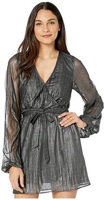 Sanctuary It's Party Time Faux Wrap Dress (Black Shine) Women's Clothing
