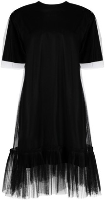 MSGM Sheer-Panel Detail Short-Sleeve Dress