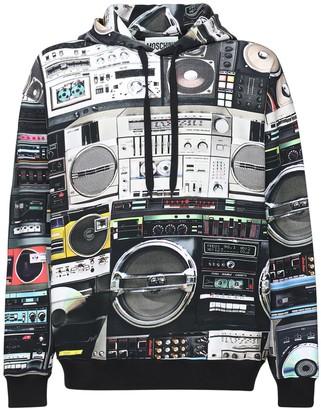 Moschino All Over Radio Print Cotton Hoodie