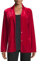 Joan Vass Velvet Two-Button Blazer, Plus Size