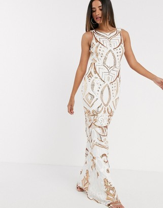 Goddiva seqiun embrioded maxi dress in white and gold