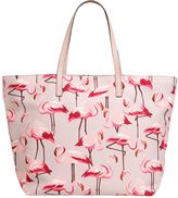 RED Valentino Flamingos Cotton Canvas Tote Bag