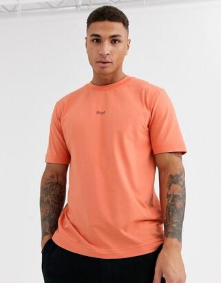 BOSS Tchup contrast logo t-shirt in orange