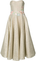 Marchesa floral embroidery metallic dress - women - Polyester - 0