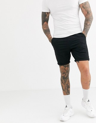 Asos Design DESIGN skinny chino shorts with elastic waist in black