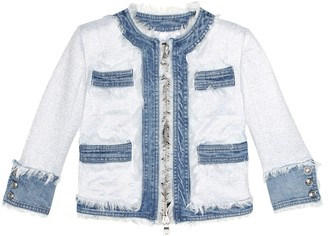 Balmain Kids Metallic denim jacket