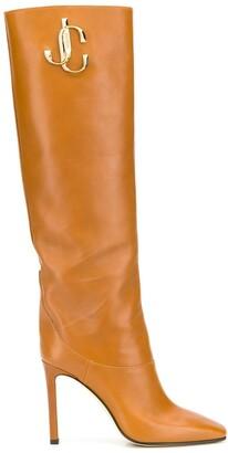 Jimmy Choo Brown Logo 100 Knee-High Boots