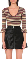 Free People Surprise metallic thread stripe top