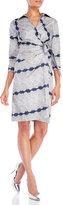 Samantha Sung Edwardian Lace Print Wrap Front Dress