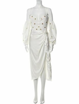 Jonathan Simkhai Chain Eyelet Off Shoulder Dress Midi Length Dress White