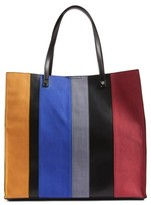 BP Stripe Faux Leather Tote - Black