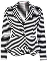 Forever Womens Long Sleeves Stripe Print Peplum Button Blazer