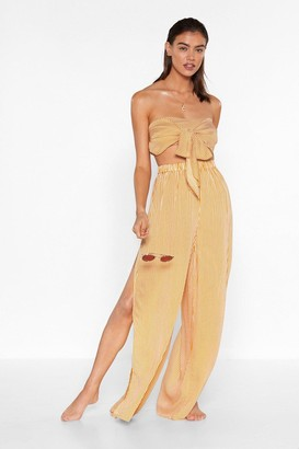 Nasty Gal Womens Beachin' to the Choir Striped Bandeau Top and Pants Set - Gold