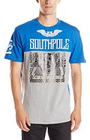 Southpole Men's Short Sleeve Graphic Tee with Logo and Top Bottom Color Block