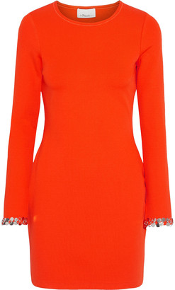 3.1 Phillip Lim Embellished Ribbed Stretch-jersey Mini Dress
