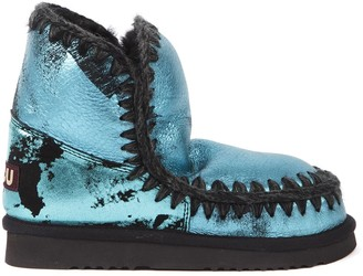 Mou Eskimo 18 Metallic Azul Leather Ankle Boot