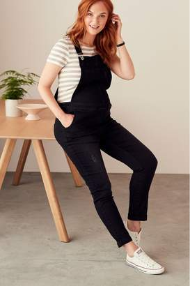 Next Womens Denim Black Maternity Dungarees - Black