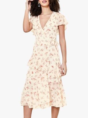 Oasis Ditsy Floral Print Ruffle Midi Dress, Natural