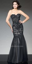 Tony Bowls Le Gala Mesh Applique Lace Up Evening Gown