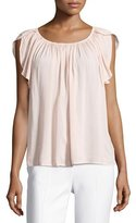 Velvet Caris Scoop-Neck Cap-Sleeve Top, Pink