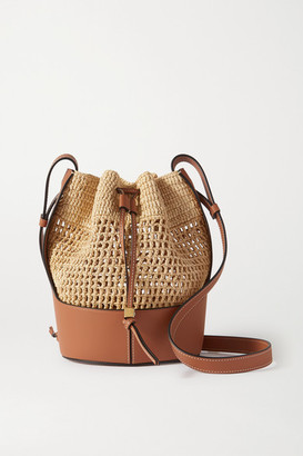Loewe Balloon Small Leather And Raffia Bucket Bag - Brown
