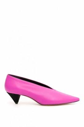 Celine Soft V Neck Purple Leather Heels