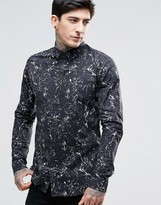Dr. Denim Jonathan All Over Oil Print Slim Fit Shirt in Black