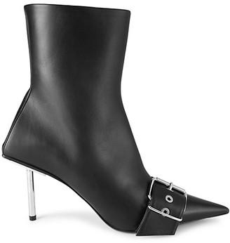 Balenciaga Leather Point-Toe Buckle Booties